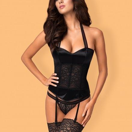 Ailay corset & string couleur: noir